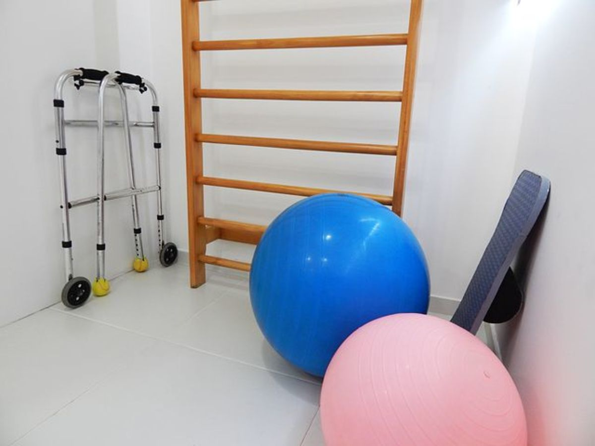 Typical items that may be found and used in a physical therapy setting.
