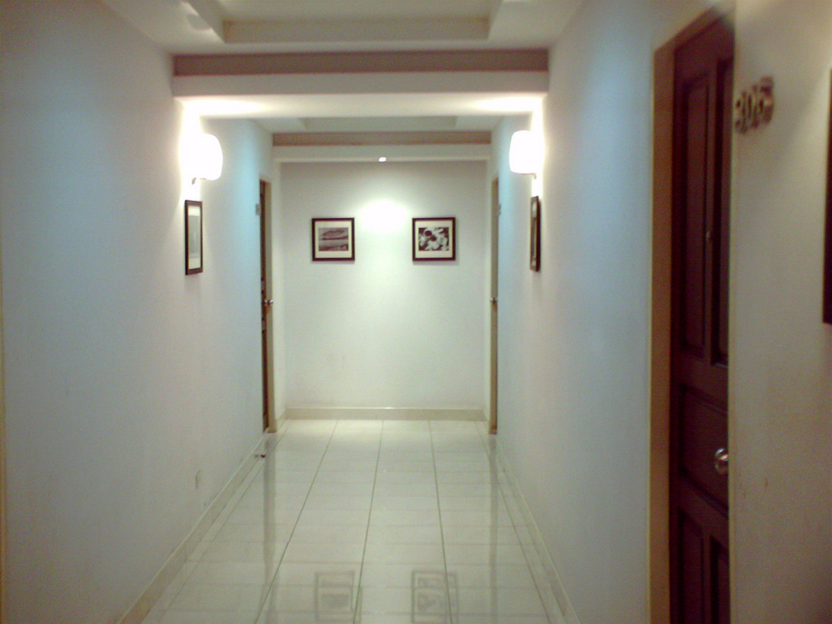 A hallway inside of the M-Place Hotel in Bangkok, Thailand.