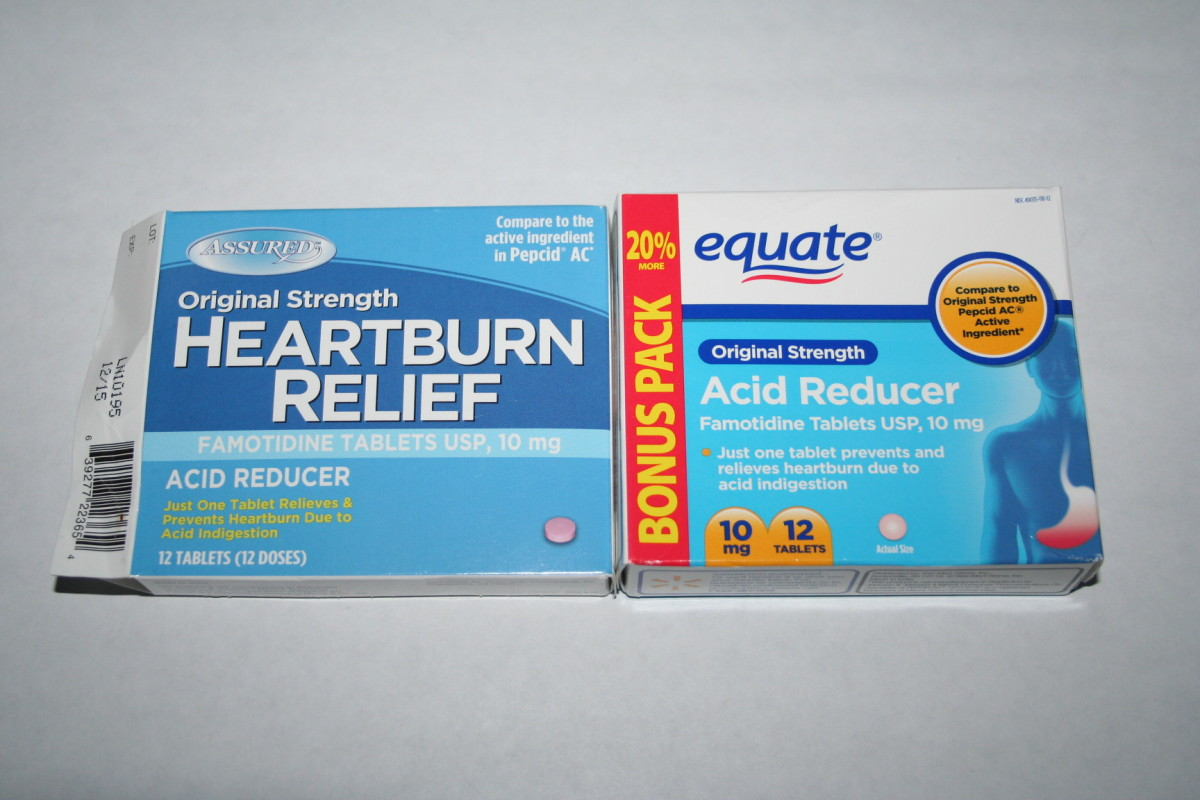 Both of these are Walmart brands for 88 cents.  They are both for occasional heartburn.