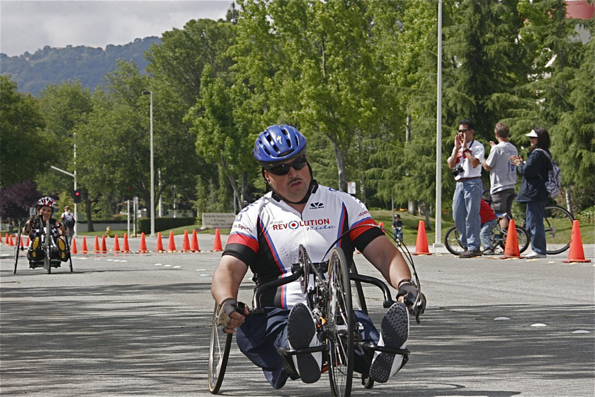 Man hand cycling