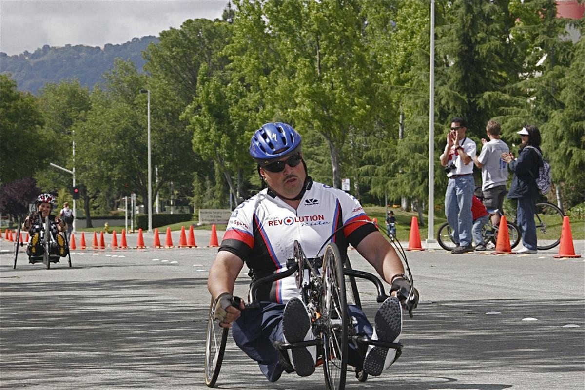 Man hand cycling