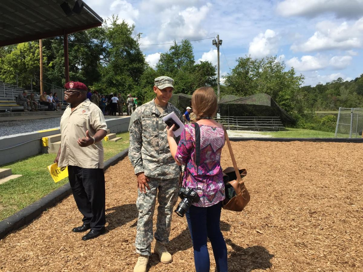 Mike being interviewed at his graduation from Ranger School, August 21, 2015