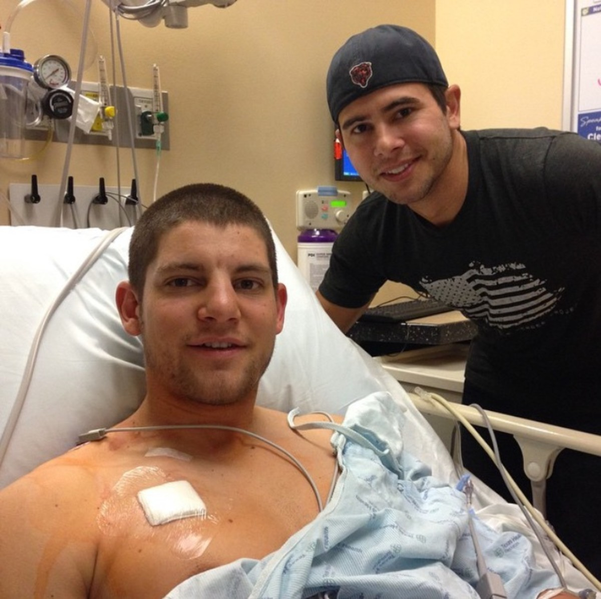 Mike with our other brother Jeff. This photo shows Mike's chemo port installed, fall 2014.