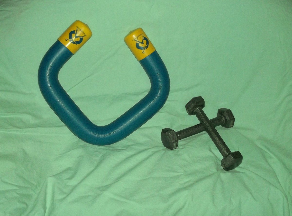 Here is a Synergetics Pocket Gym along with a simple set of 1 pound weights.
