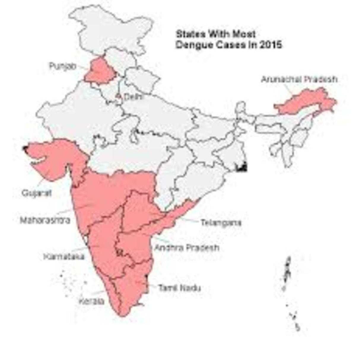States with most Dengue cases in India in 2015