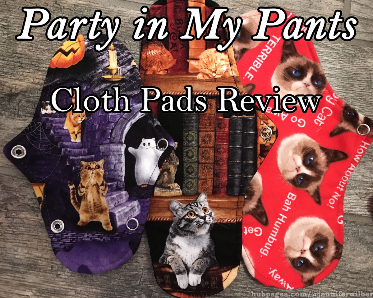 Party in My Pants Cloth Pads. The tabby cat on the bottom left perfectly illustrates my initial reaction to the idea of reusable cloth menstrual pads.