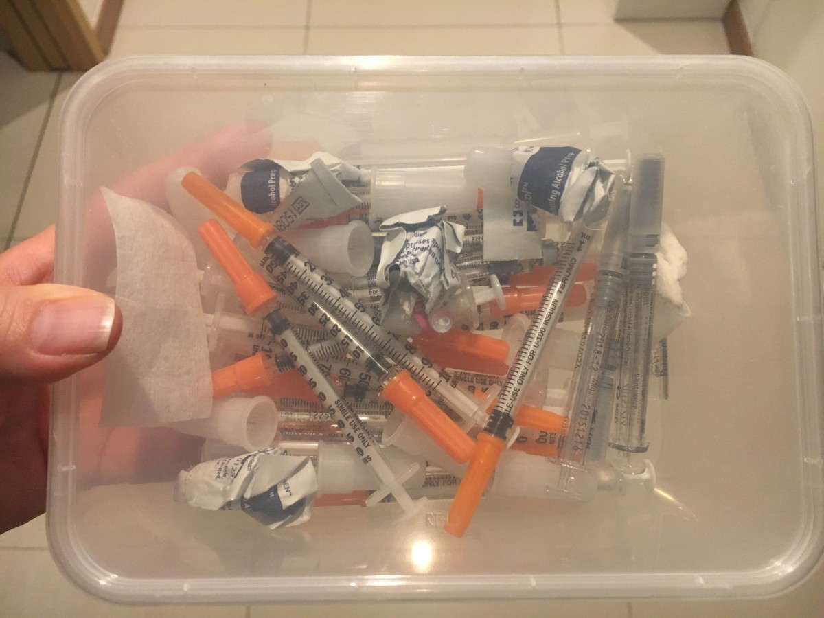 Box of completed injections!