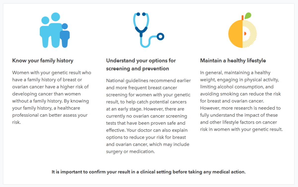 23andMe's recommendations for reducing breast cancer and ovarian cancer risk.