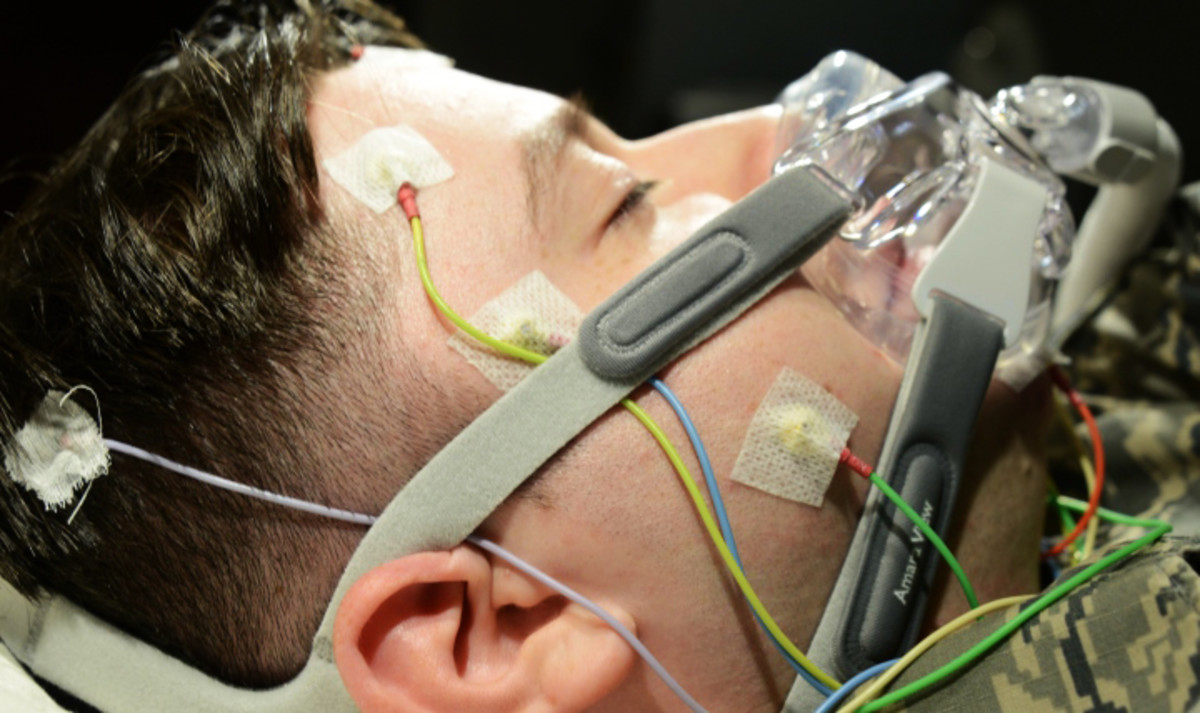 Sleep testing involves a lot of sensors and wires to give a full picture of your brain activity.