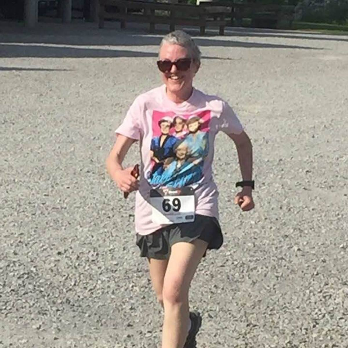 Me finishing my first 5K after treatment. I am running my fourth one tomorrow!
