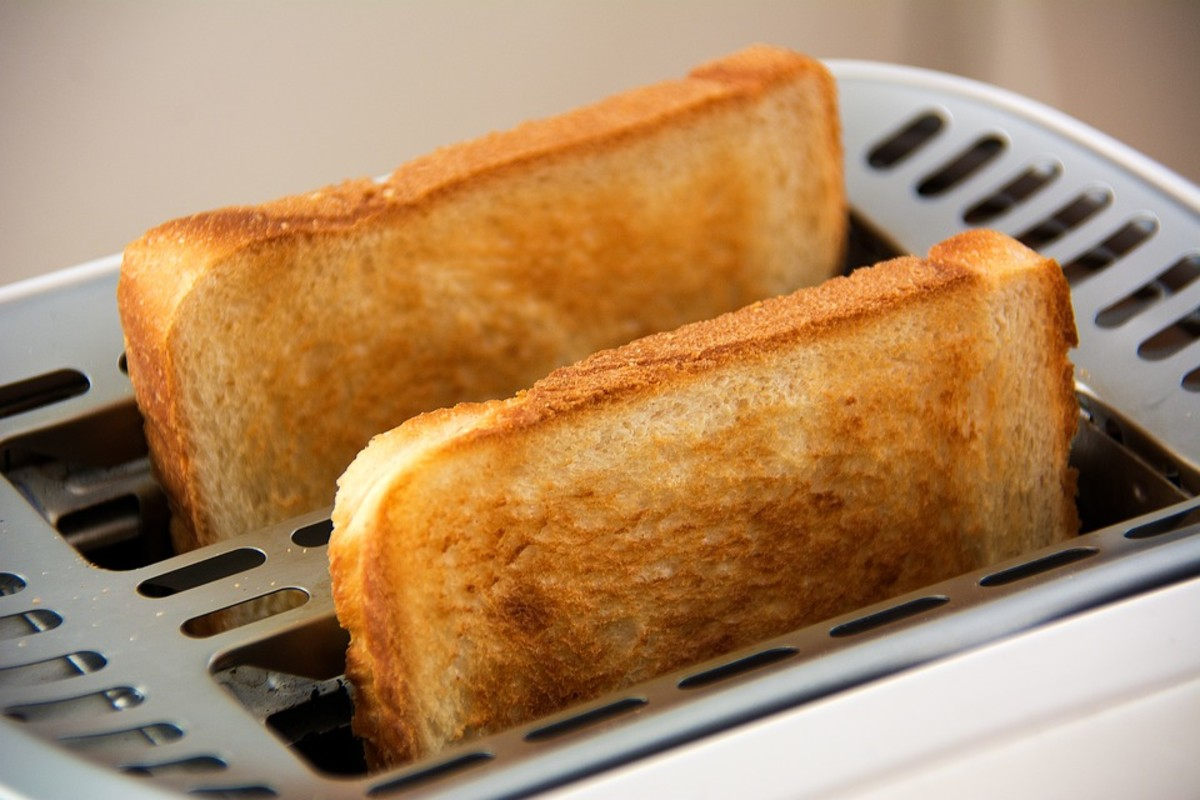 two pieces of toast in a toaster