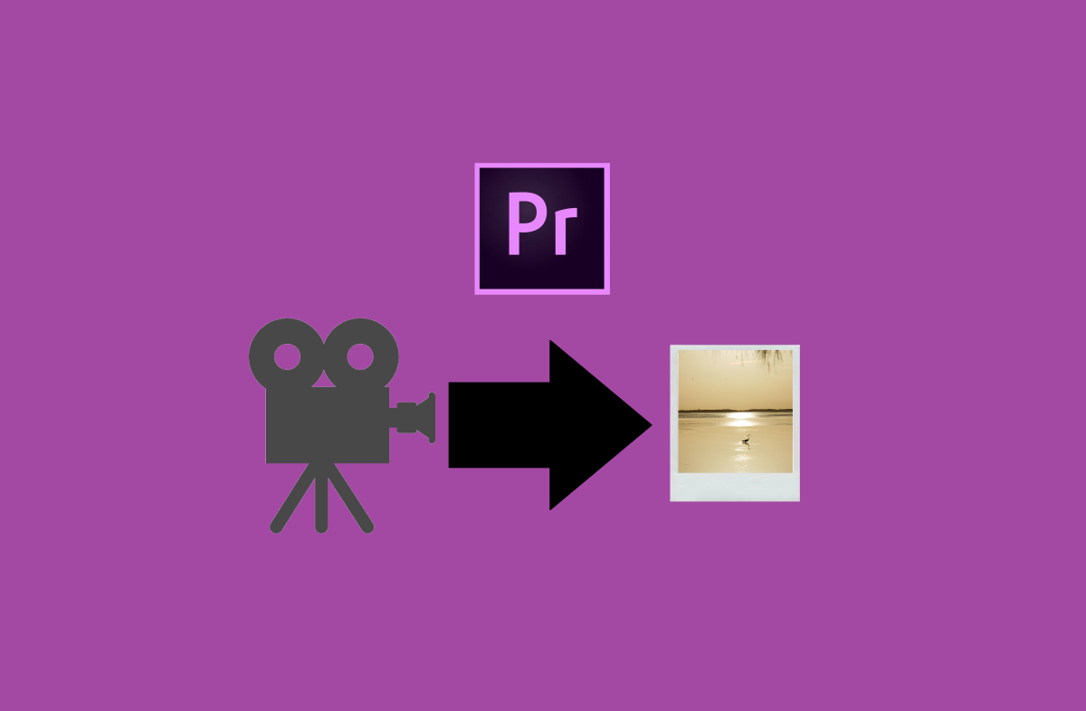 Videos are made up of thousands of frames and Adobe Premiere has the power to pull one of those frames out to create a photo. The task is described in Premiere as grabbing a screen shot and exporting a still frame.