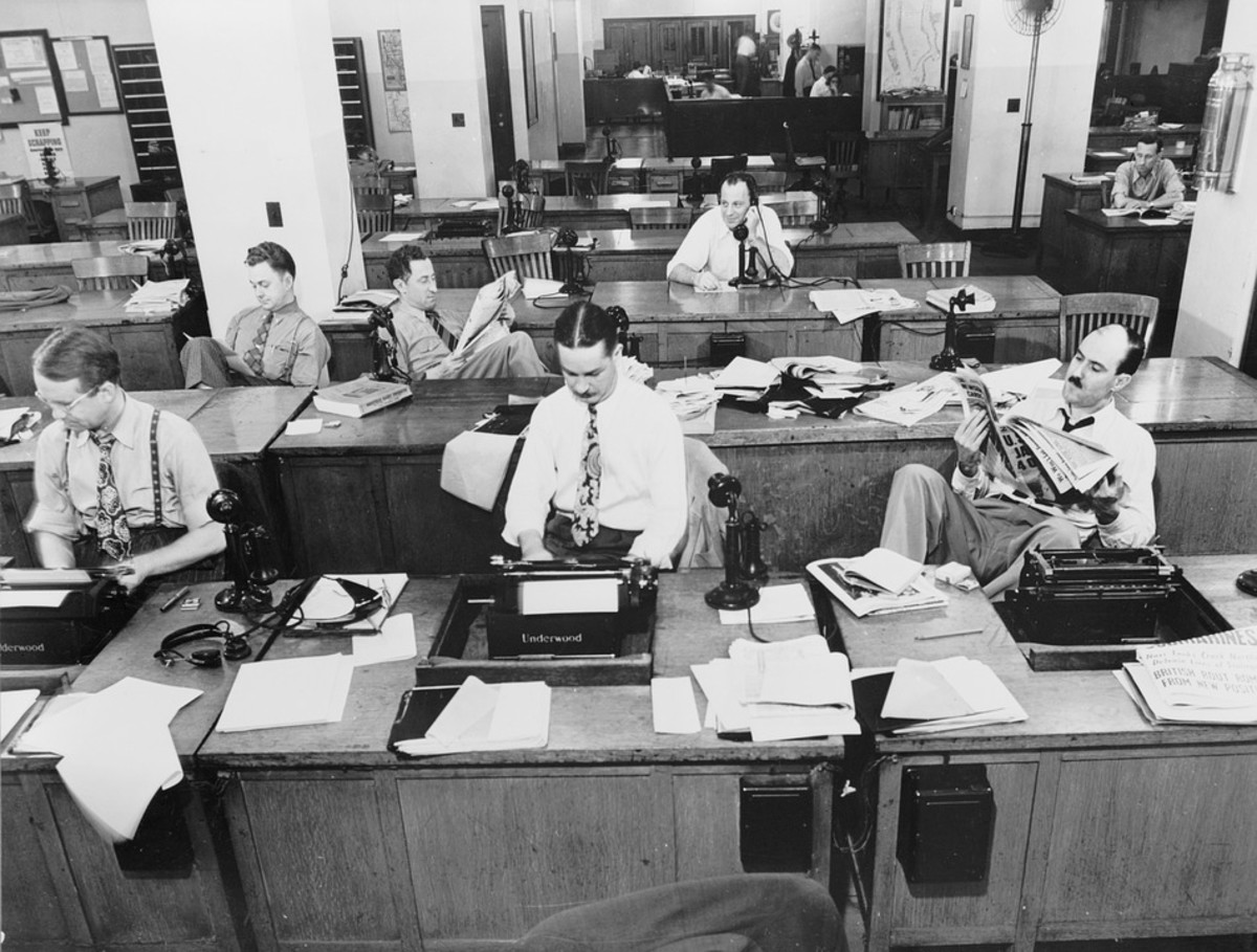 "Newsroom New York Times 1943. The above newsroom looks a lot like the one where I met ""Jackie."""