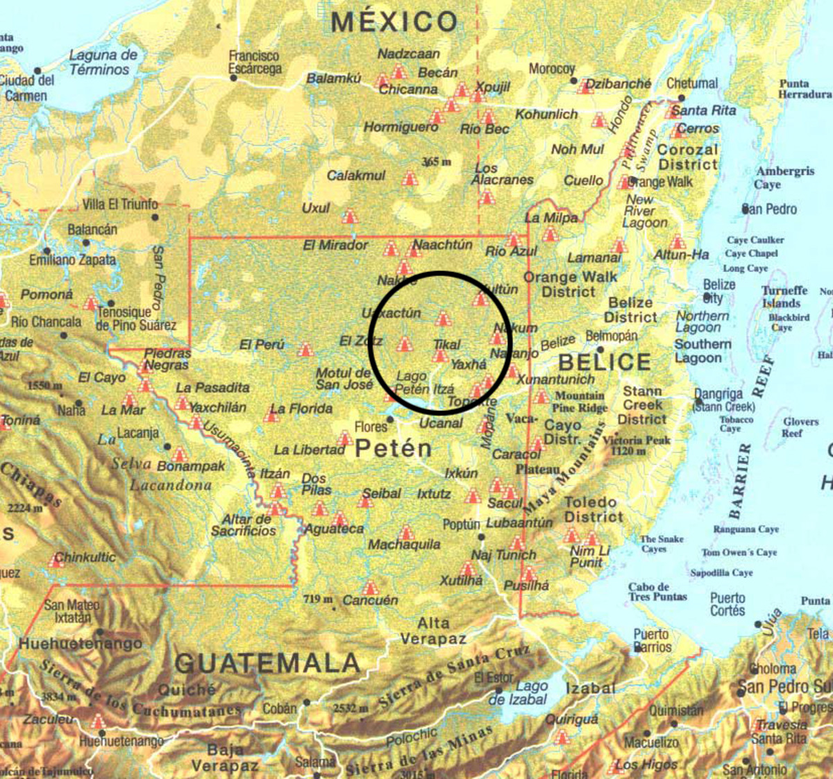Map of Petén, Northern Guatemala,