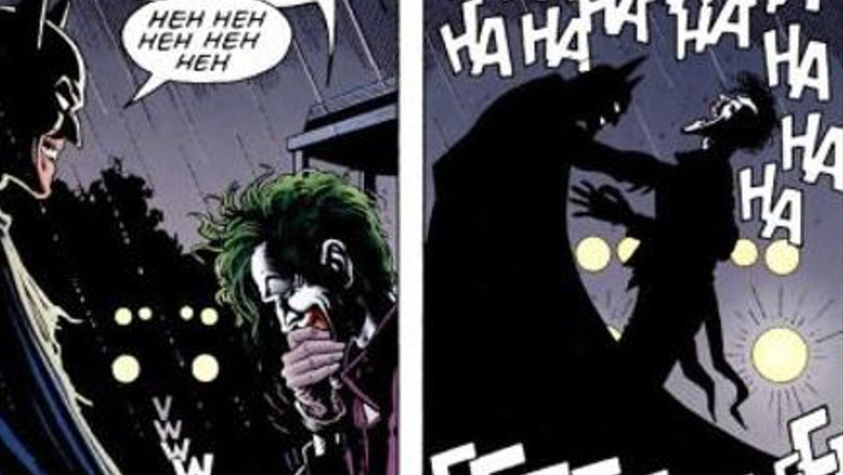 Batman reaches for Joker