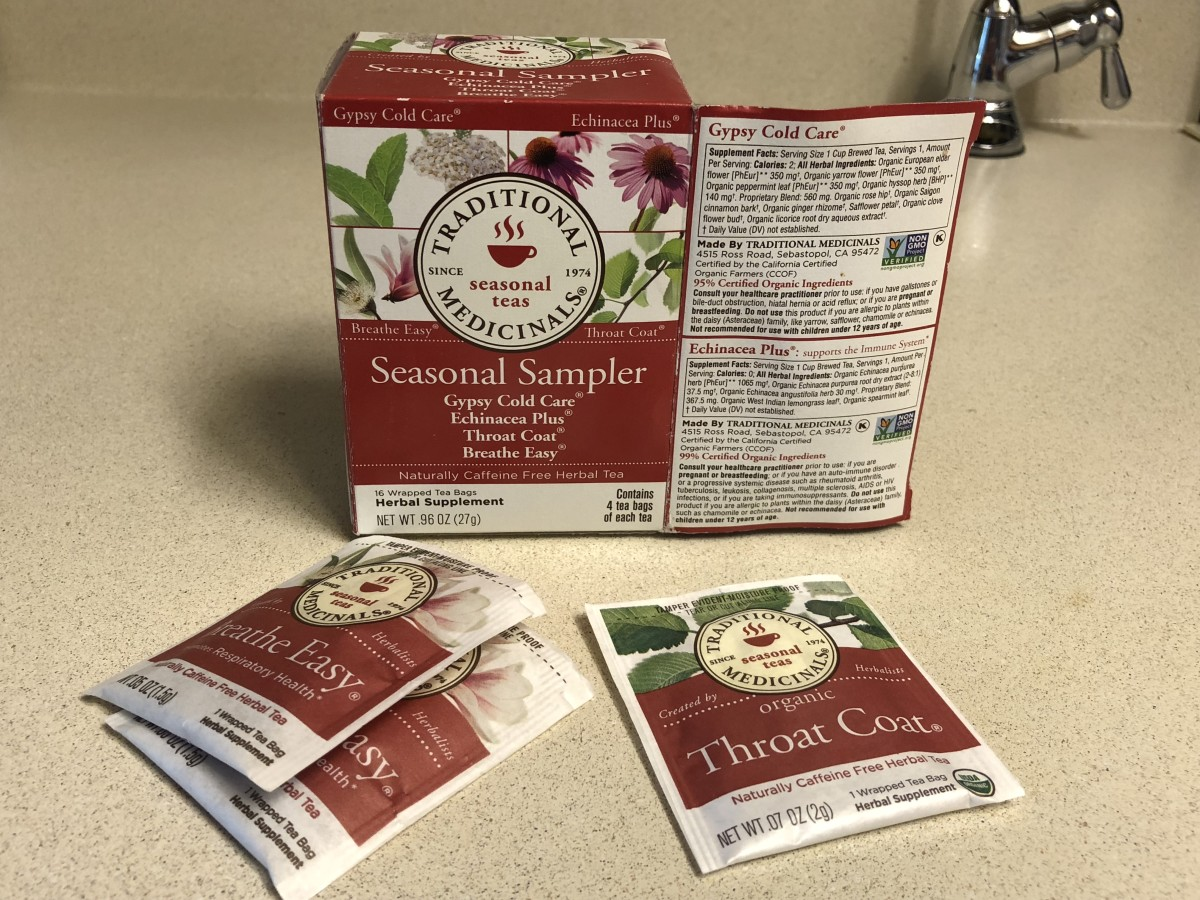 Sampler tea package for cold and flu season; includes four different teas.