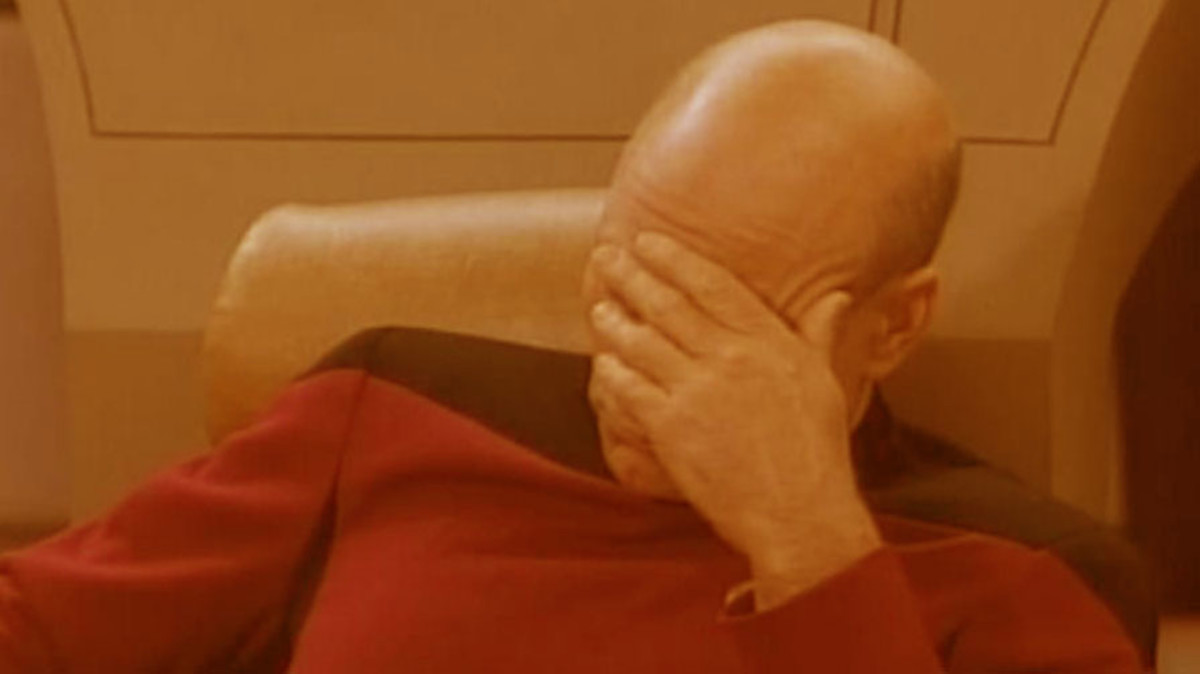 Jean-Luc Picard is not best pleased with the white balance here...