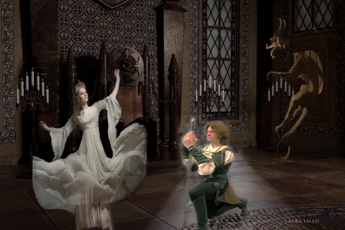 Composite: Dragon and background: RAWexchange | model Jl modelstocks | knight (cobweb stock)