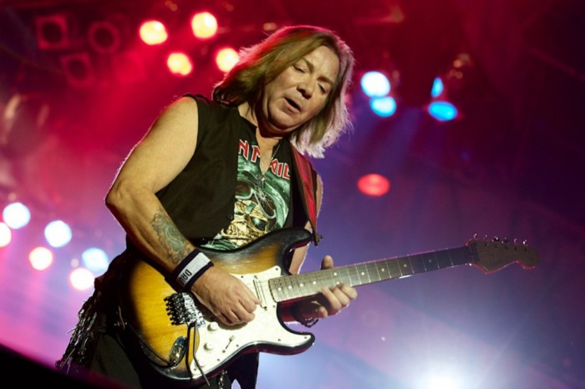 Dave Murray of Iron Maiden with one of his Fender Stratocasters