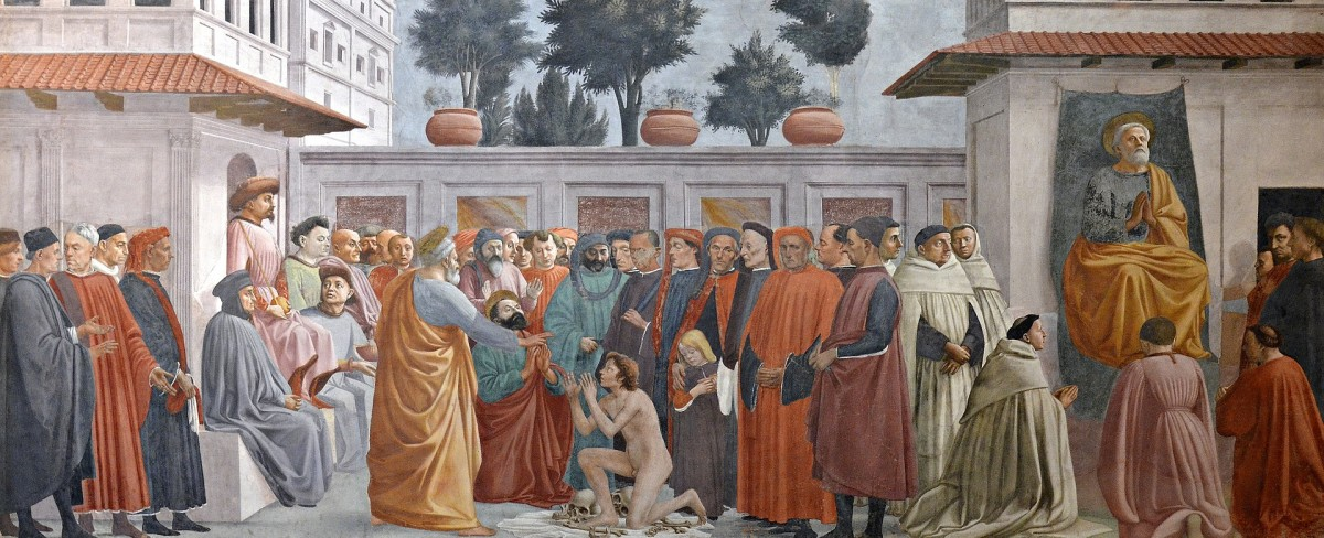 Masaccio and Filippo Lippi. Raising of the Son of Theophilus and St Peter Enthroned. Brancacci Chapel