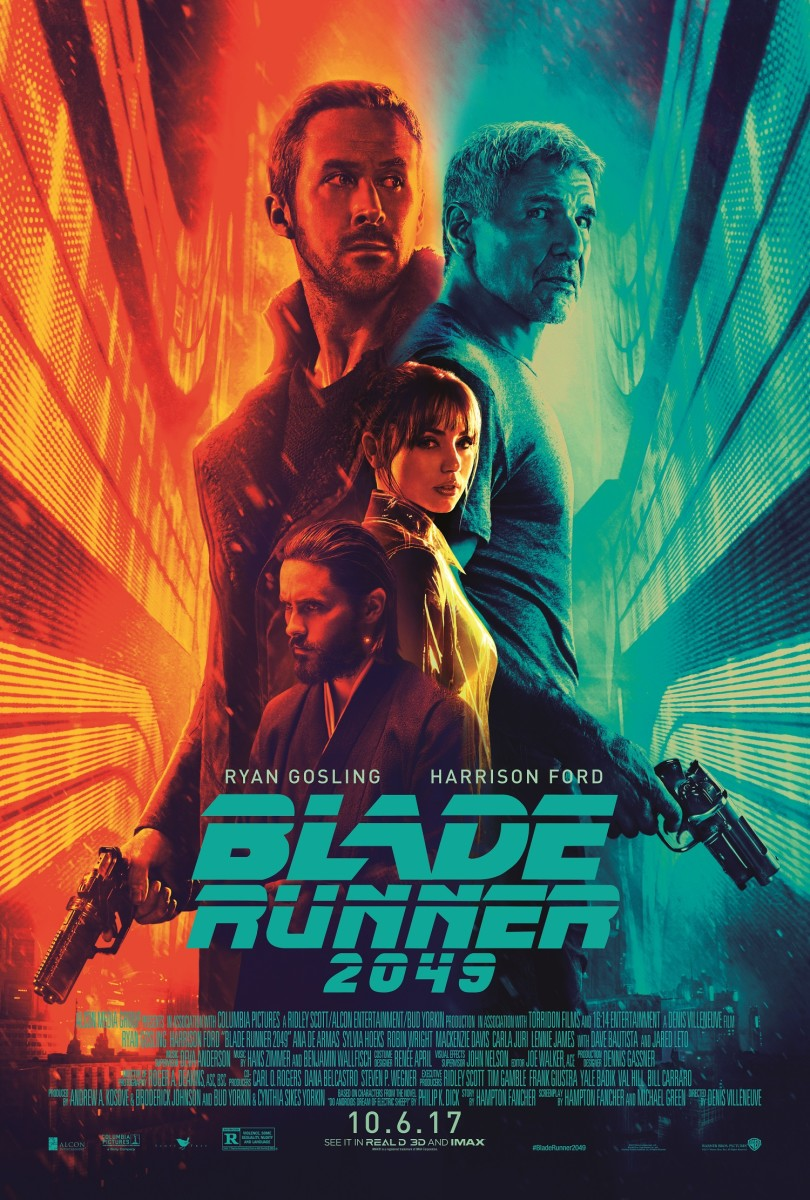 "The official theatrical one-sheet poster for ""Blade Runner 2049."""