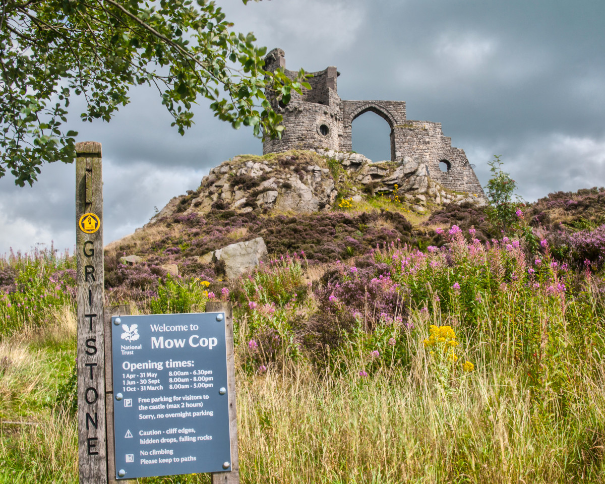 Mow Cop Castle (folly) falls within the Gritstone trail. Car park opening hours are as listed in the image. It can be a very busy place during spells of fine weather and securing a parking space locally may be difficult.