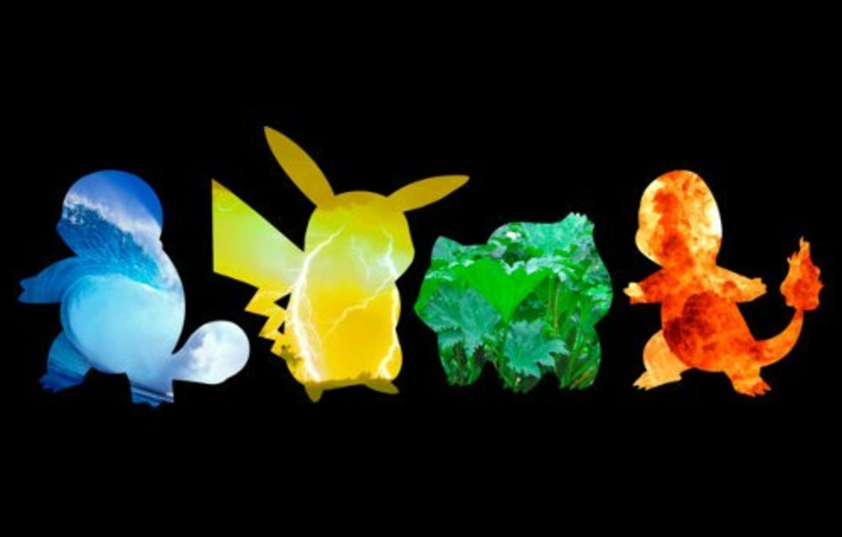 Squirtle, Pikachu, Bulbasaur, and Charmander