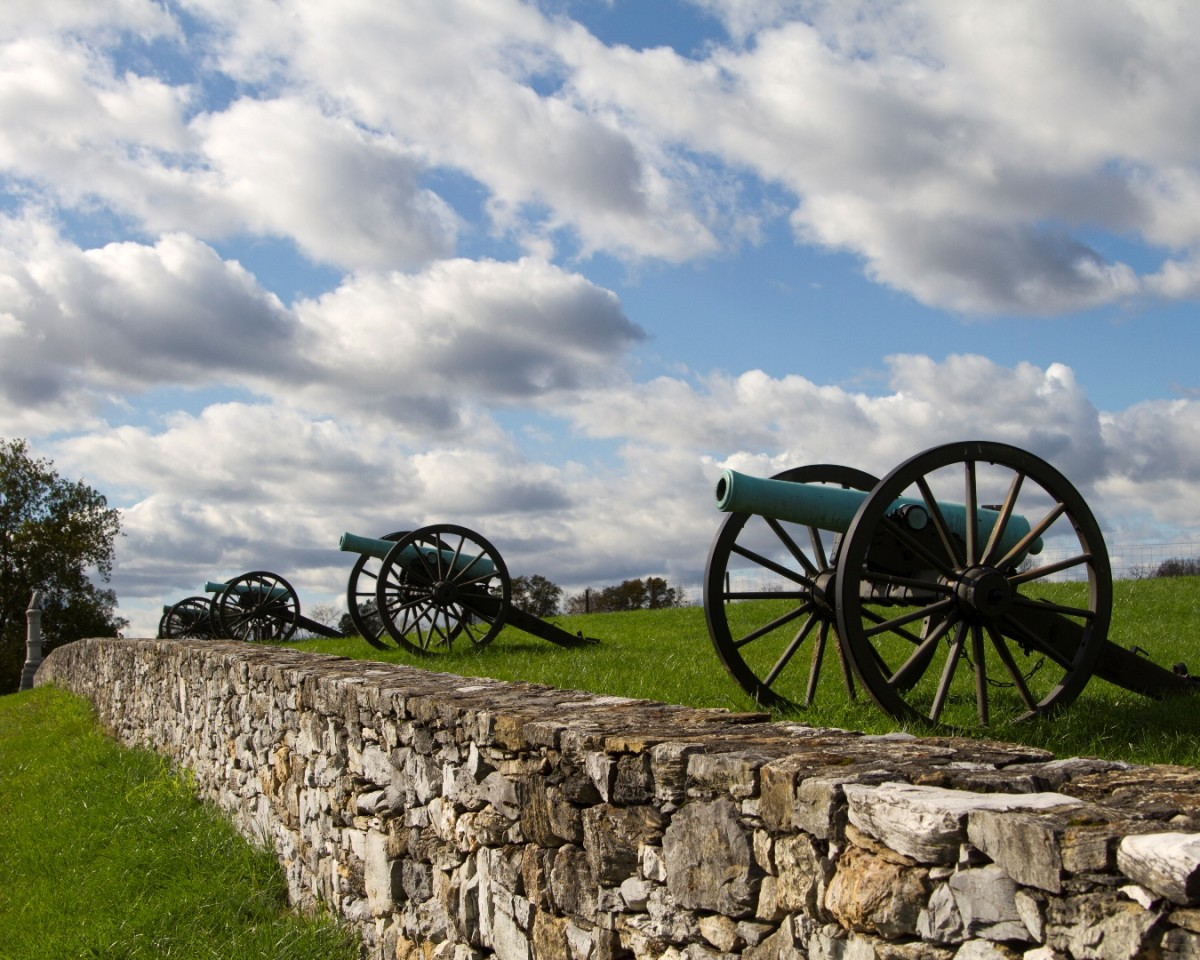 Cannons at Antietam National Battlefield. The fight at Antietam (Sharpsburg) was one of the most important battles of the Civil War.