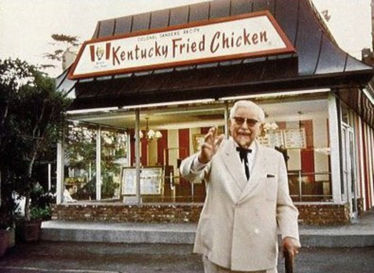 Colonel Sanders outside Kentucky Fried Chicken restaurant