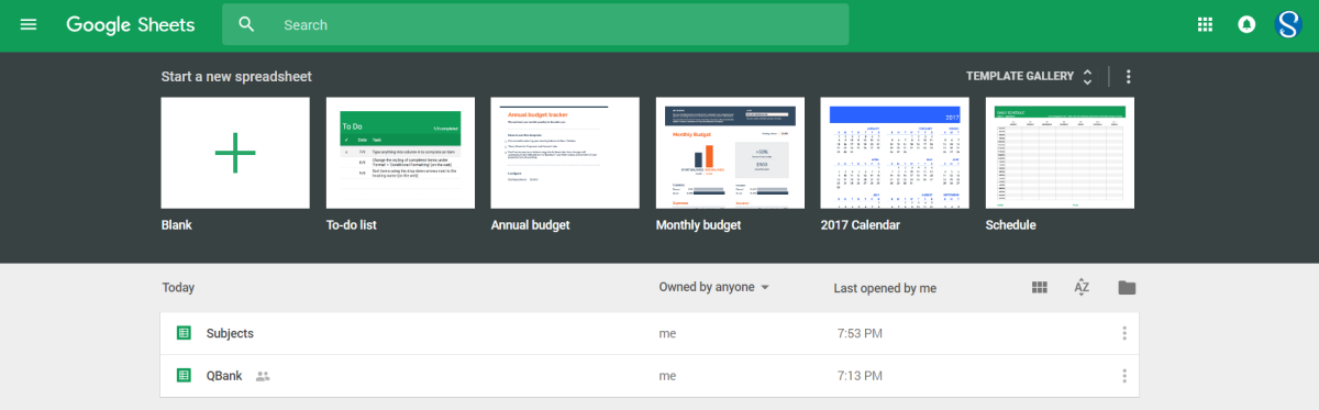 Google Sheets Home Screen on a browser