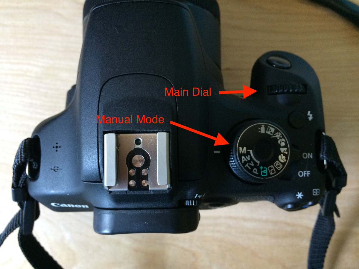Top of camera showing shooting mode selection and main dial