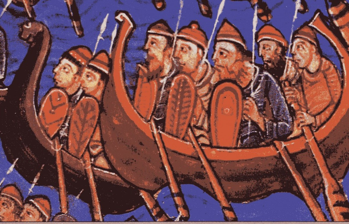 A 12th century illustration of the Vikings invading England
