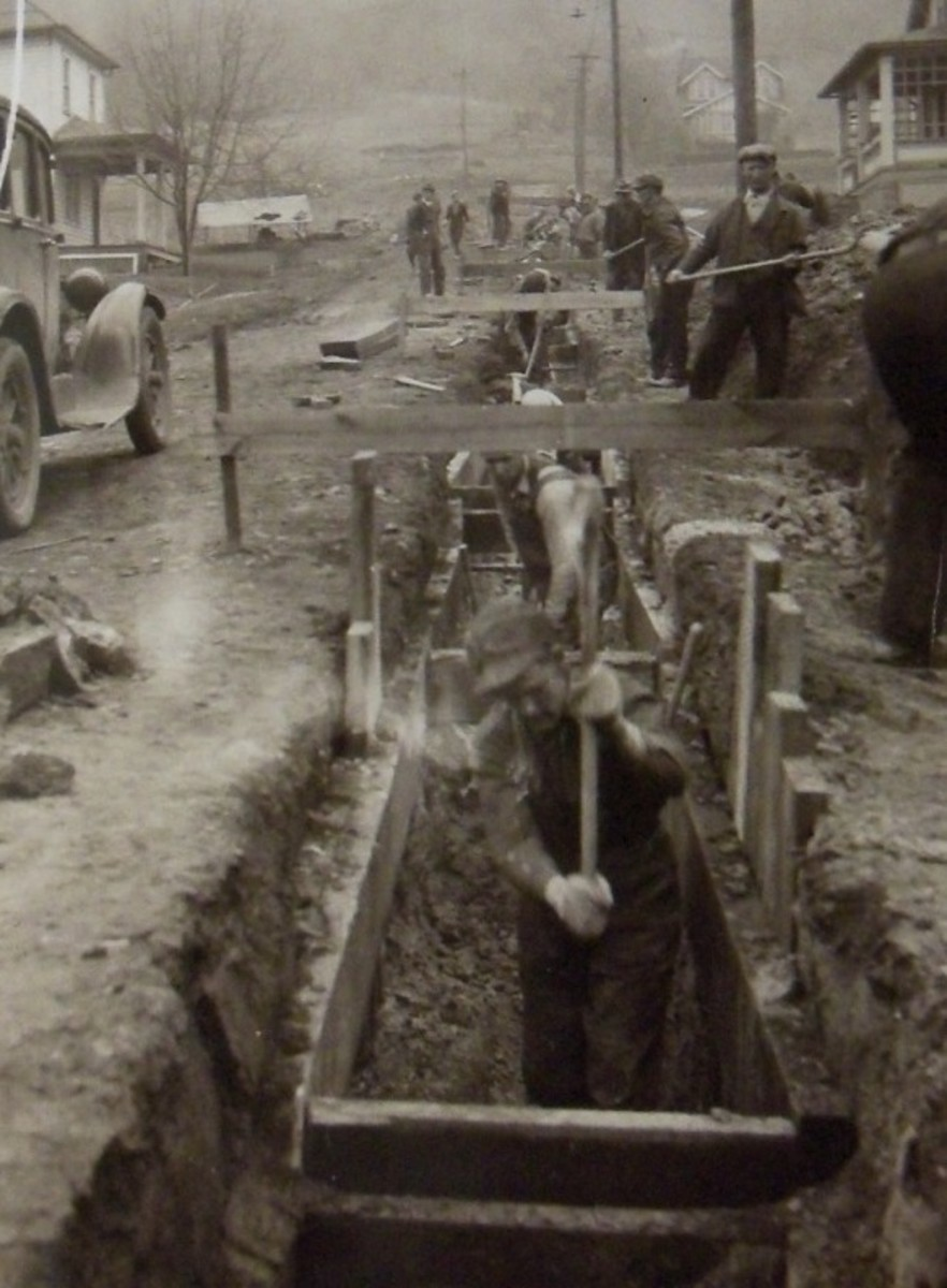 Typical WPA ditch digging operation, source and location unknown.