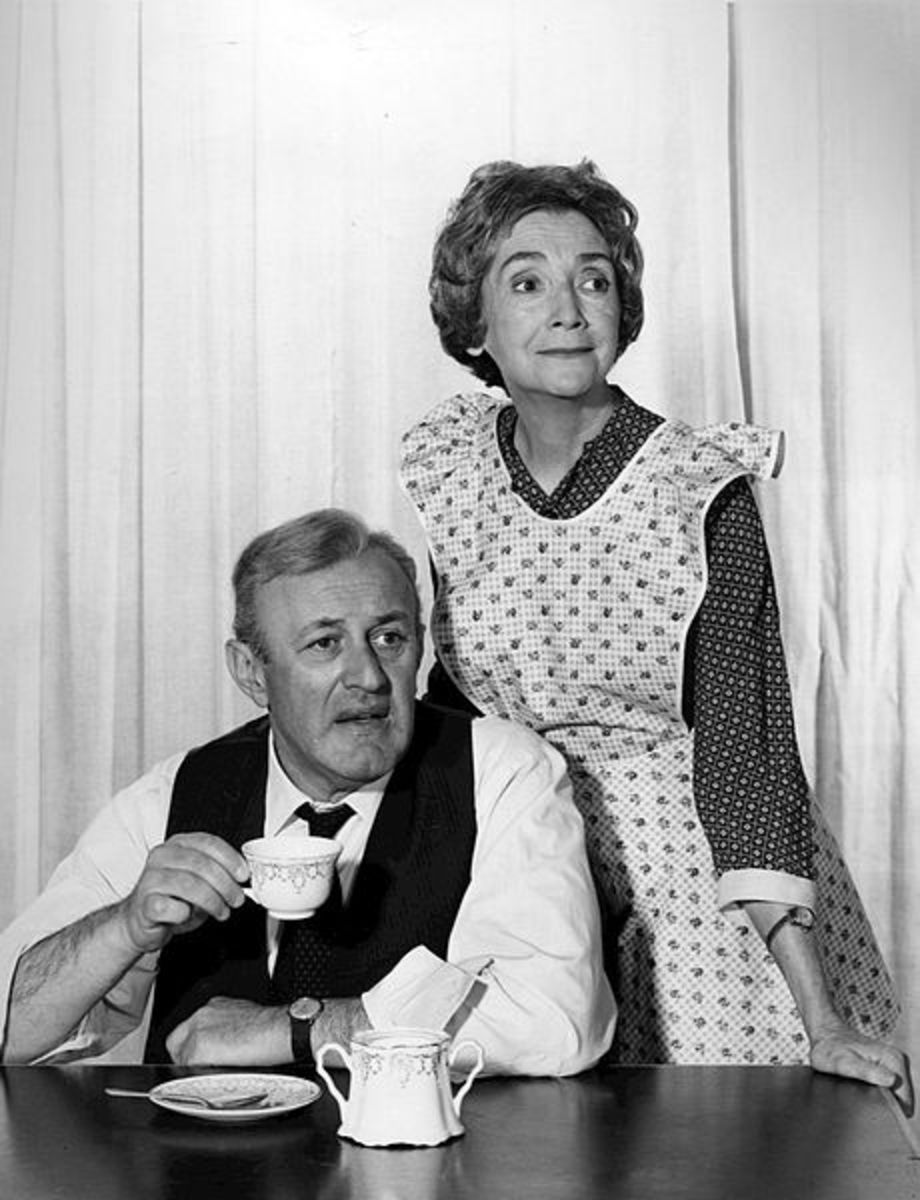 Photo of Lee J. Cobb and Mildred Dunnock from the 1966 television presentation of Death of a Salesman. The program was rebroadcast in March 1967.