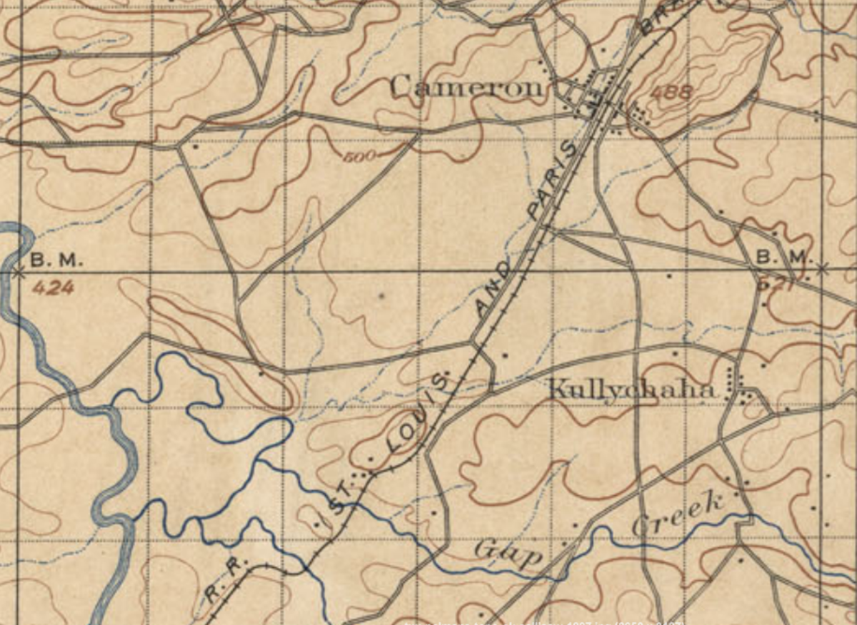 Map of Kully Chaha in relation to Cameron, 1896