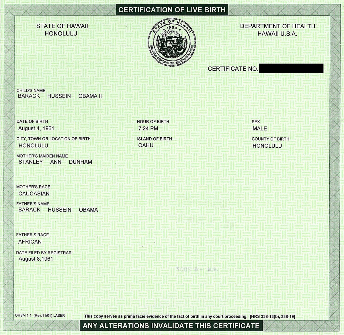 SSA will accept only Original or Certified copy of a birth certificate. Most US birth certificates, including Hawaii for instance, has security features like raised lettering, stamp, and glowing lines under blue light on them to halt counterfeiting.