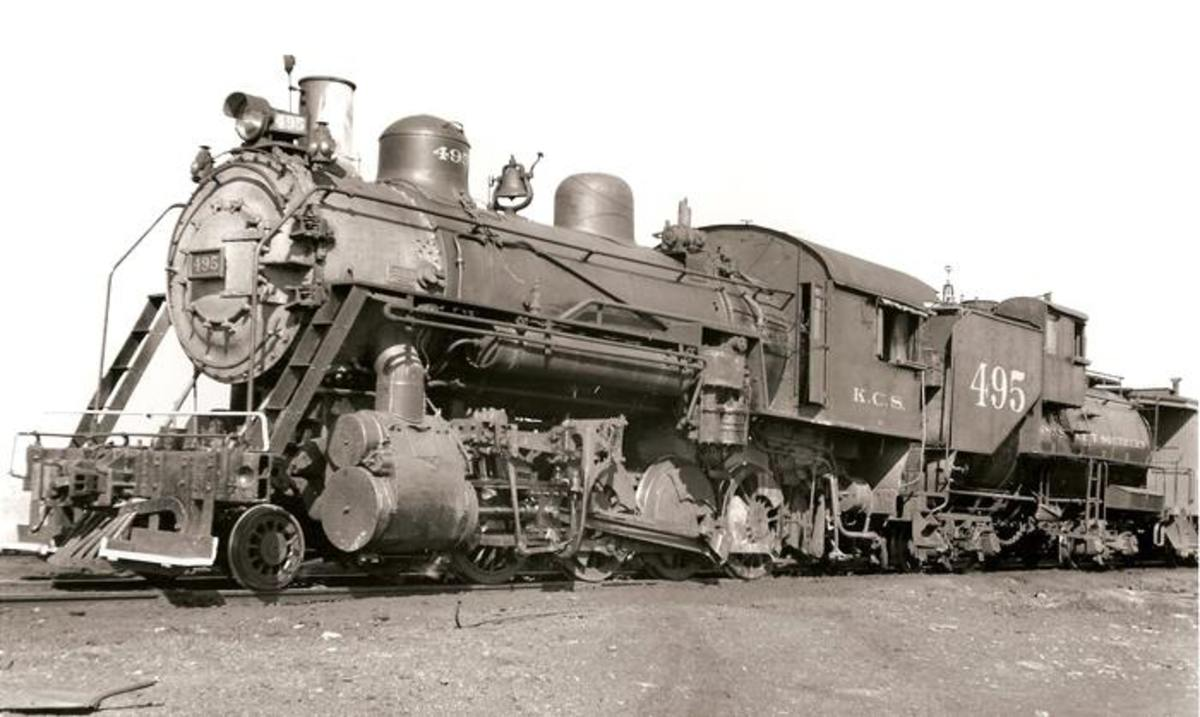 The KCS 2-8-0 495 is seen in Spiro, Oklahoma.