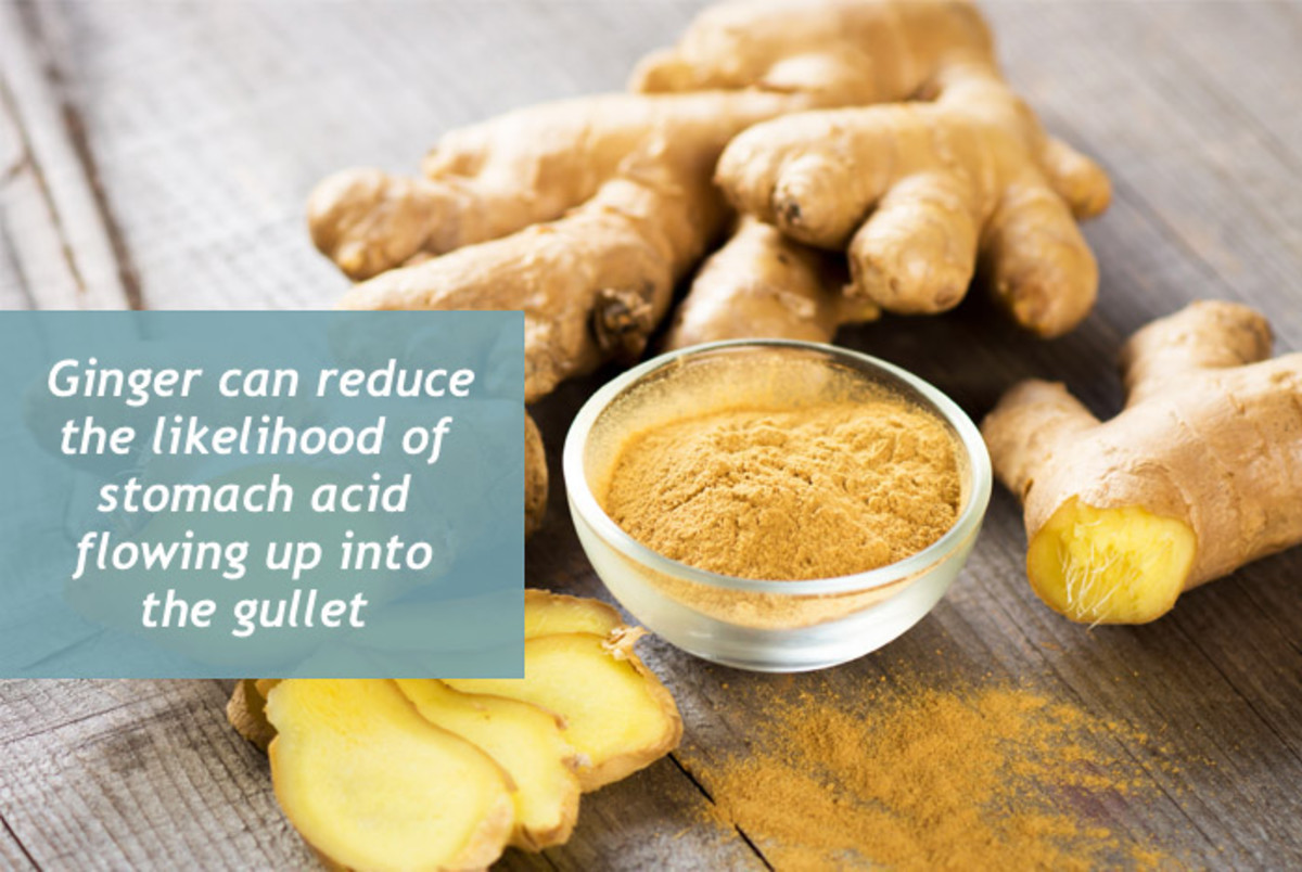 Ginger helps relieve heartburn by reducing acid reflux flowing up into the gullet.