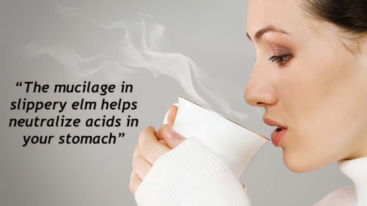 The mucilage in slippery elm helps neutralize acids in your stomach.