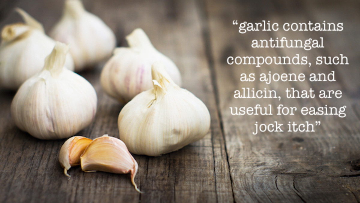 Garlic contains antifungal compounds that are useful for easing jock itch.