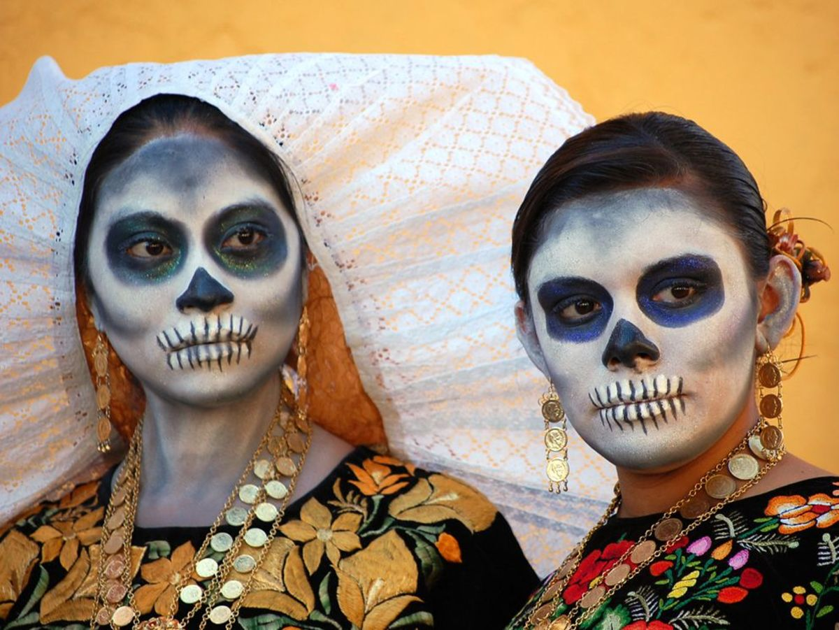 Day of the Dead celebrations in Mexico and other Latin American countries include surreal face paintings