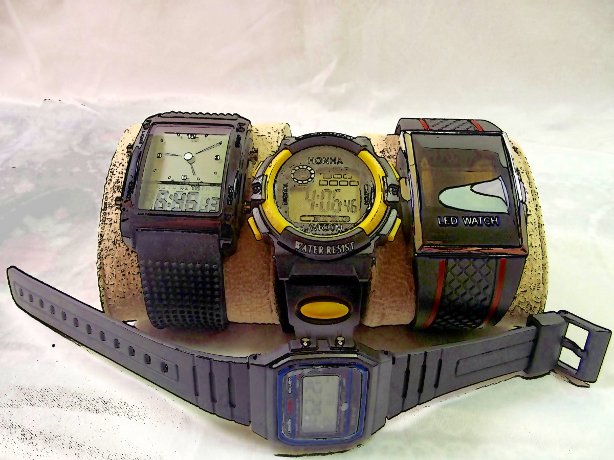 Selection of four inexpensive digital watches