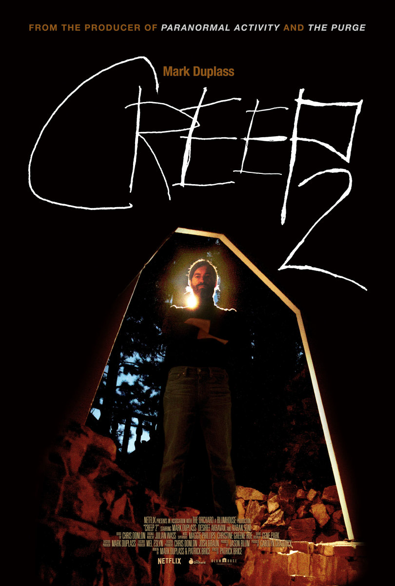 "The official poster for the found footage horror film ""Creep 2."""
