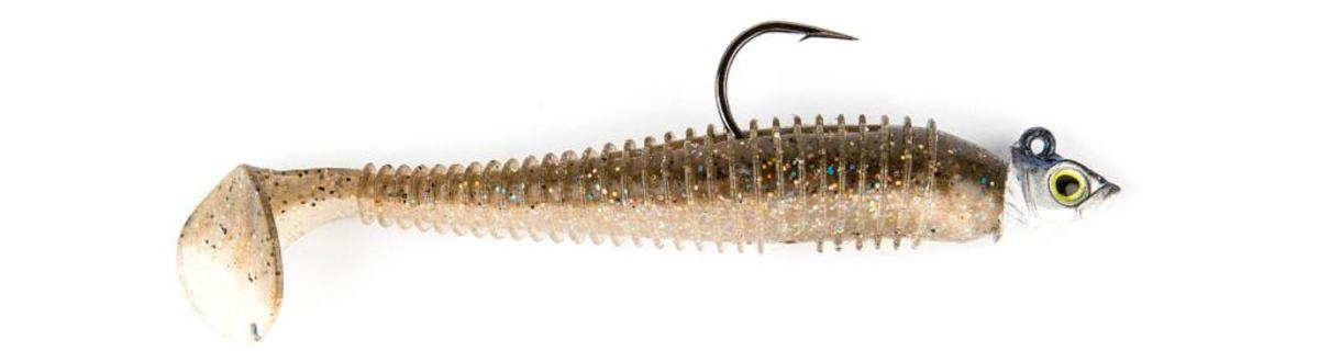 Giant smallmouth bass love soft-plastic swimbaits, like this one by Keitech.