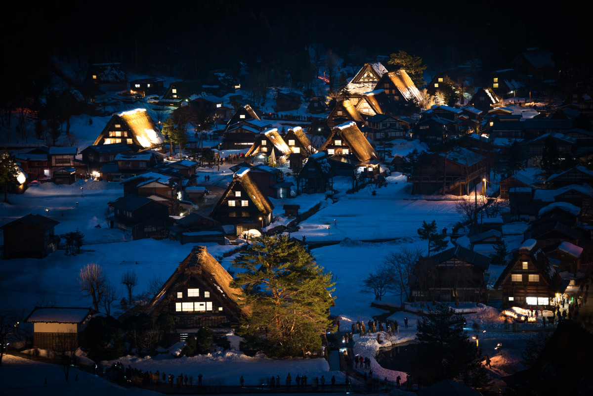 Night time view of Shirakawa Village