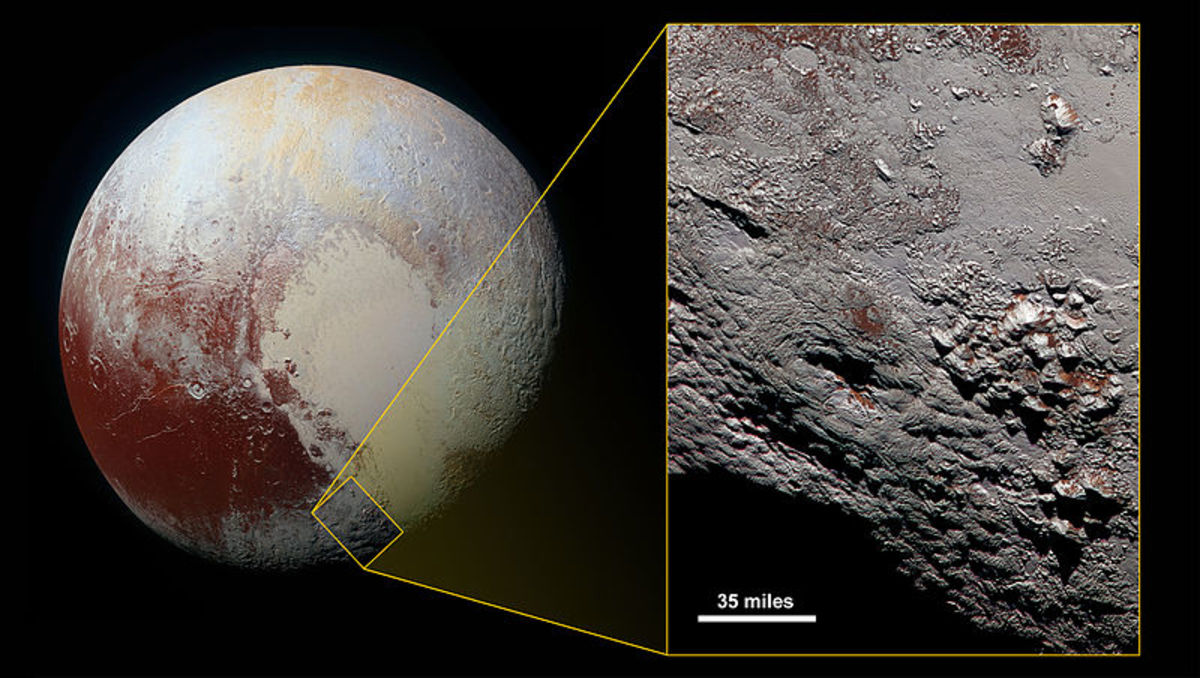 A close look at Pluto's surface.