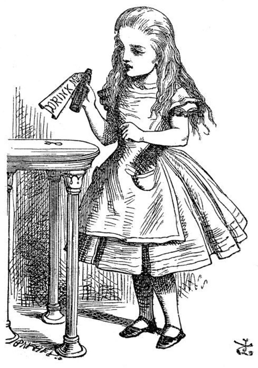 what is the theme thesis of alice in wonderland