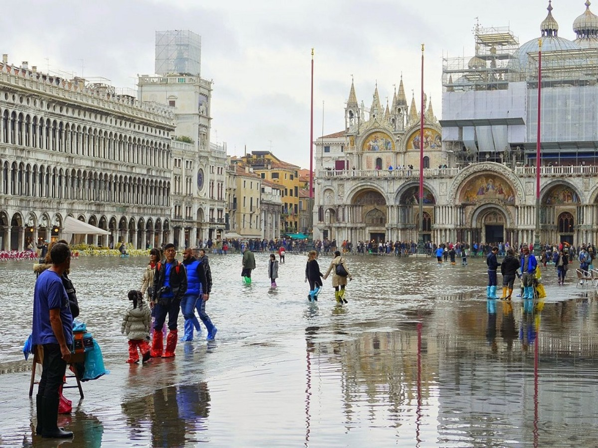 Piazza San Marco is regularly flooded by high tides.