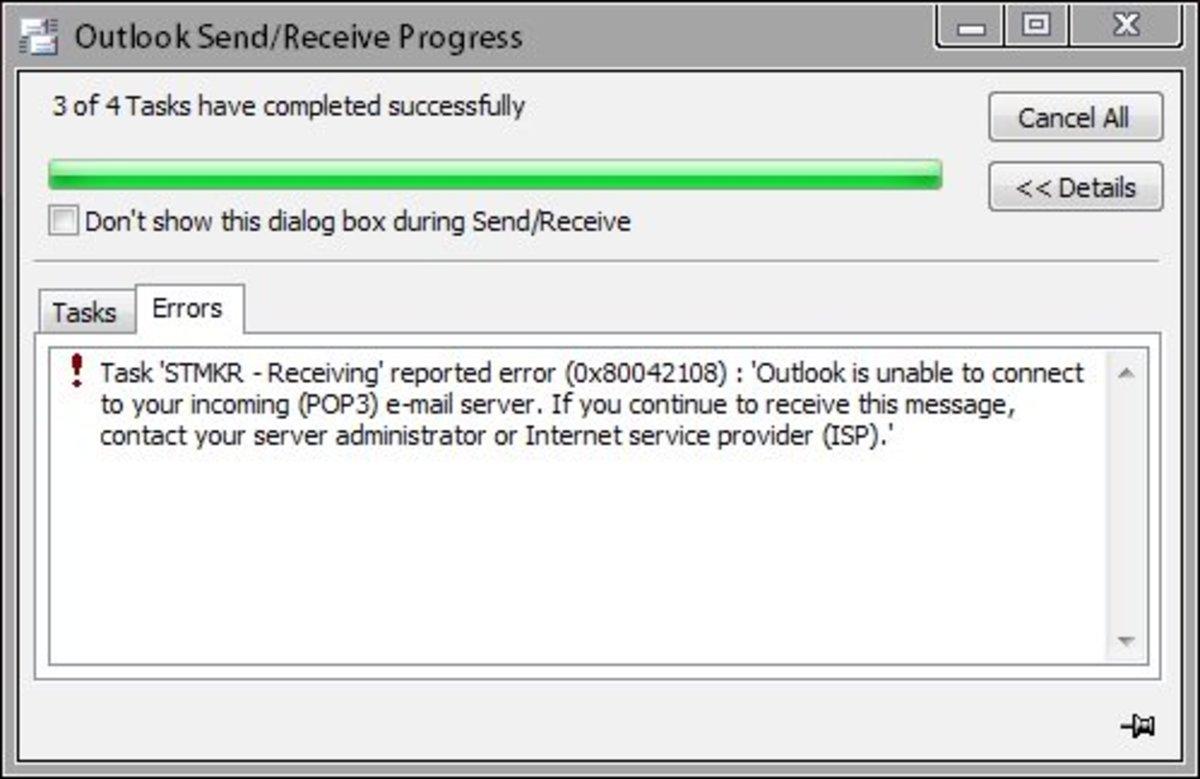 How to Fix Microsoft Outlook Error 0x80042108