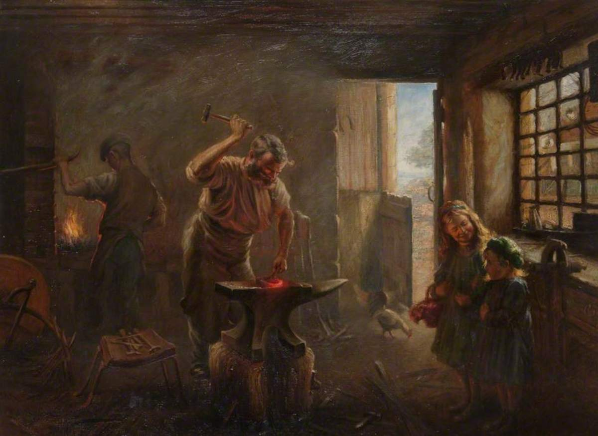 Blacksmith, Midday in the Smiddy (James Wallace 1914)